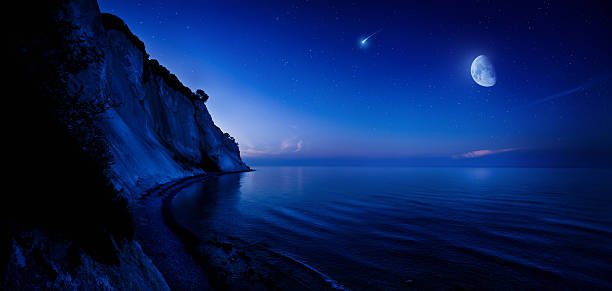 Night shot of mountains and sea Night shot of mountains and sea north star stock pictures, royalty-free photos & images