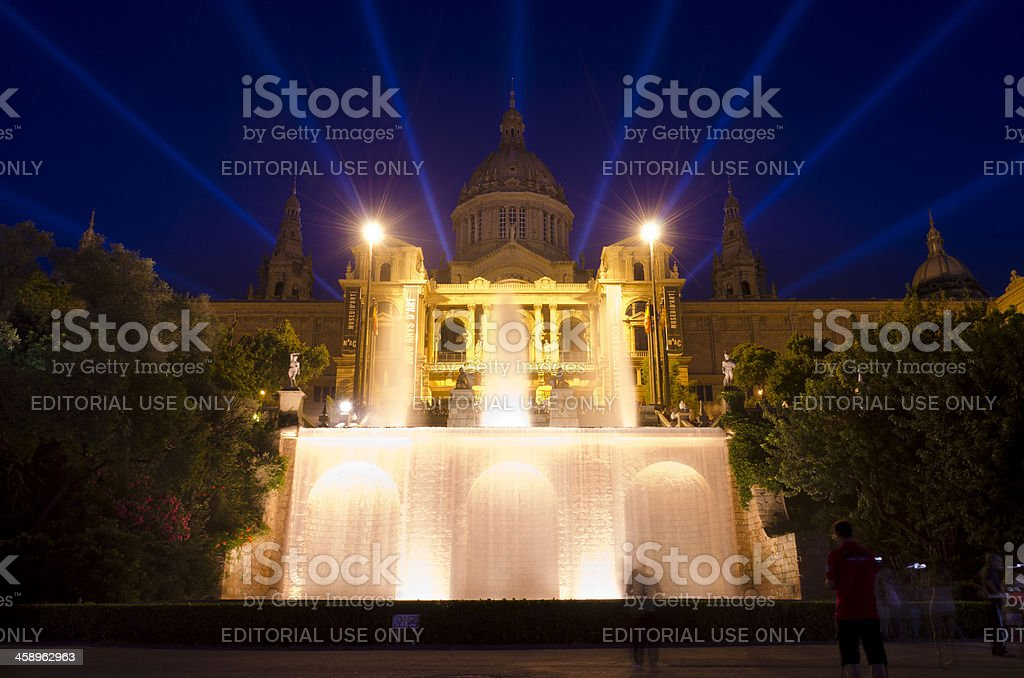 Night shot of Museu Nacional d'Art de Catalunya, Barcelona, Spain stock photo