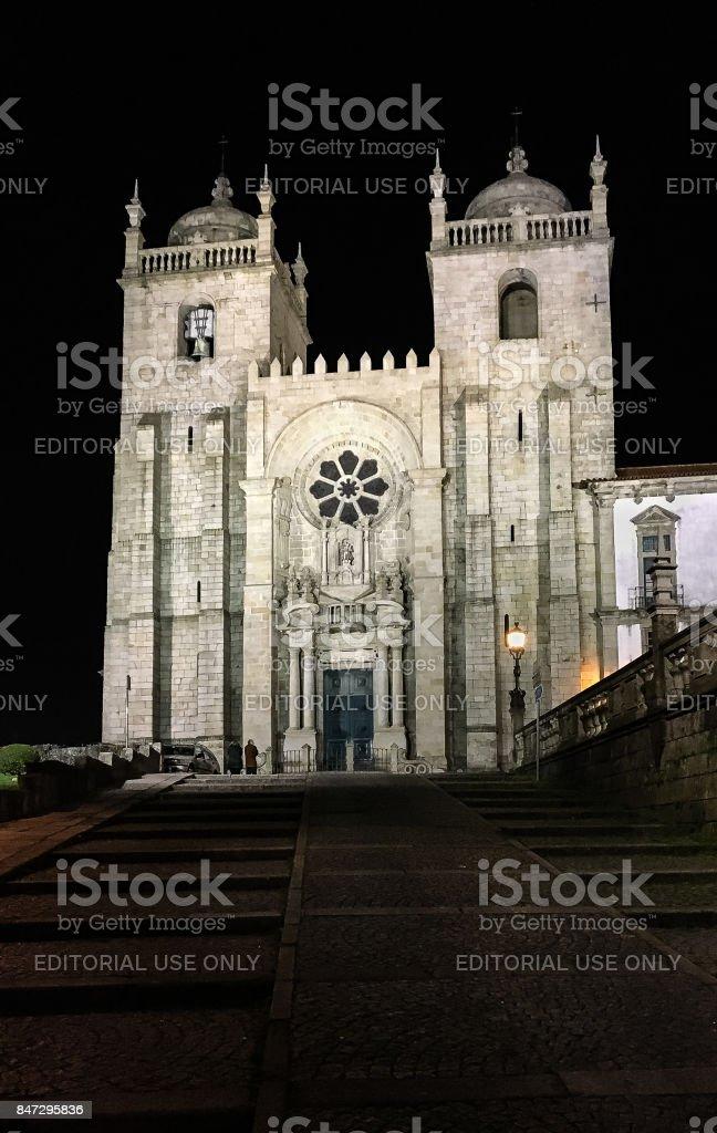 Night shot of Porto's Cathedral in Porto, Portugal stock photo