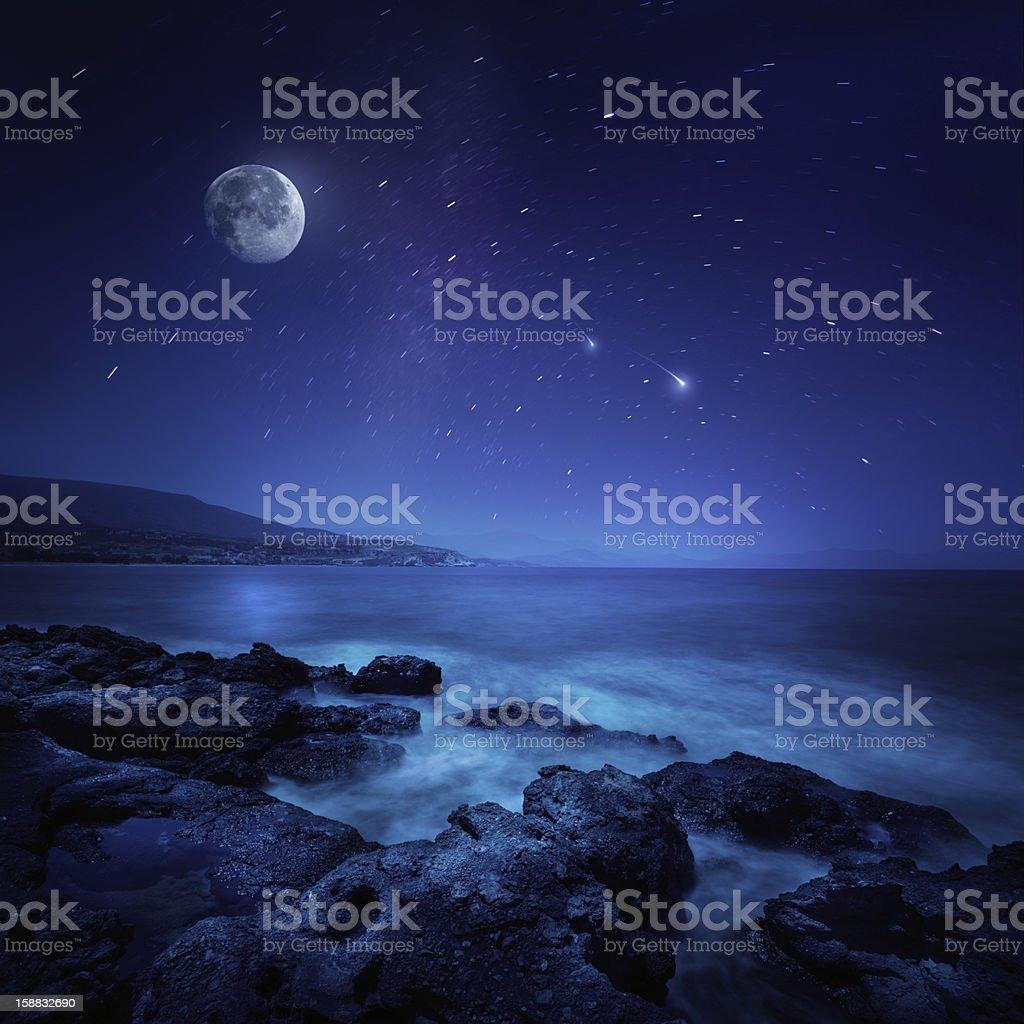 Night shot of sea stock photo