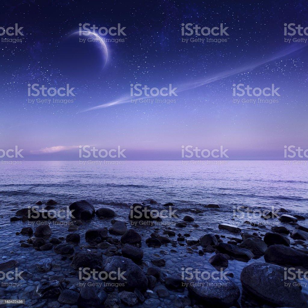 Night shot of sea Shot of sea at night. Beach Stock Photo