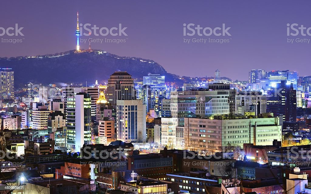 A night shot of Seoul's skyline royalty-free stock photo
