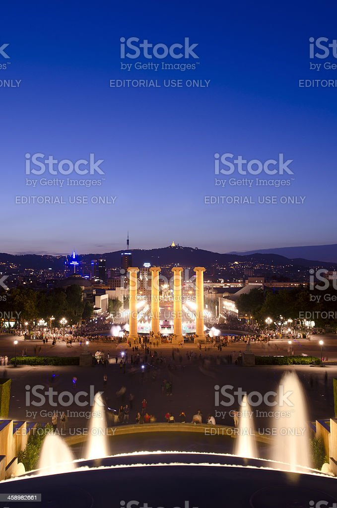 Night shot of the Magic Fountain and Barcelona skyline stock photo