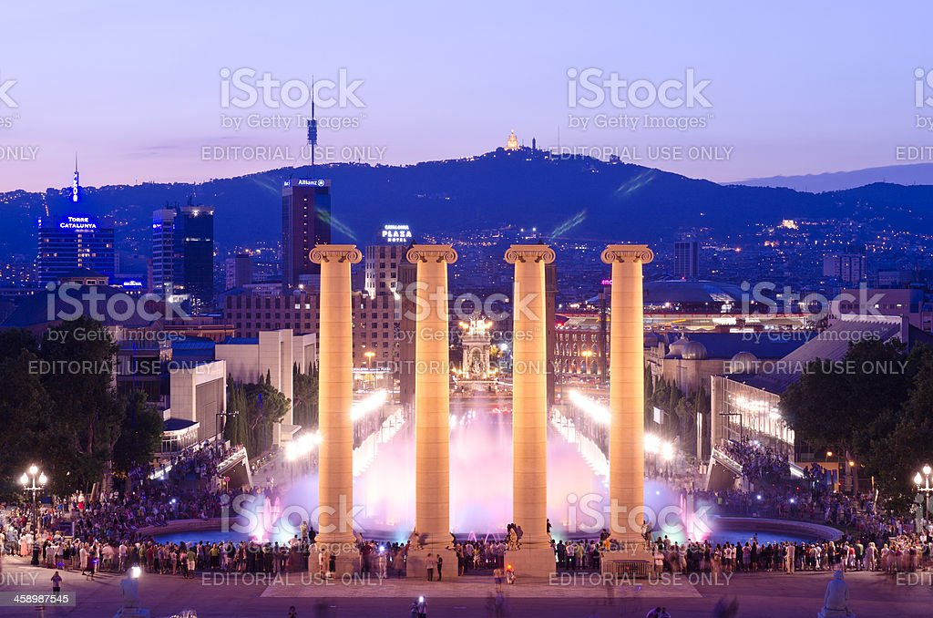 Night shot of the Magic Fountain, Barcelona, Spain stock photo