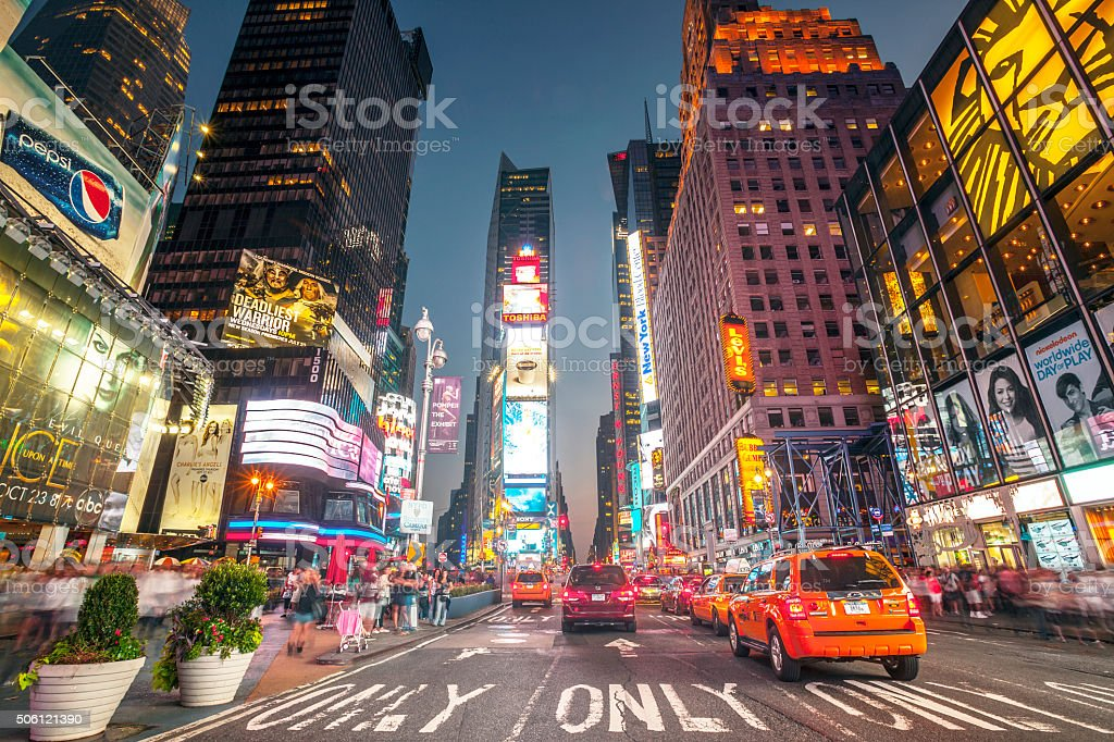 Night shot of Times Square, New York stock photo
