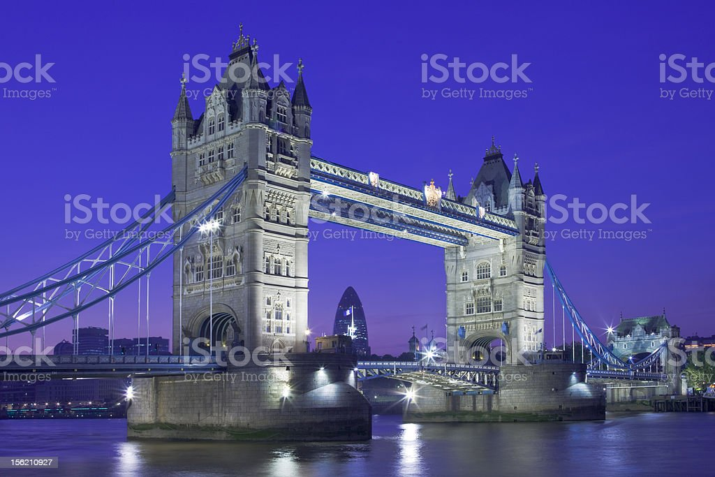 Night shot of Tower Bridge and the City, London royalty-free stock photo