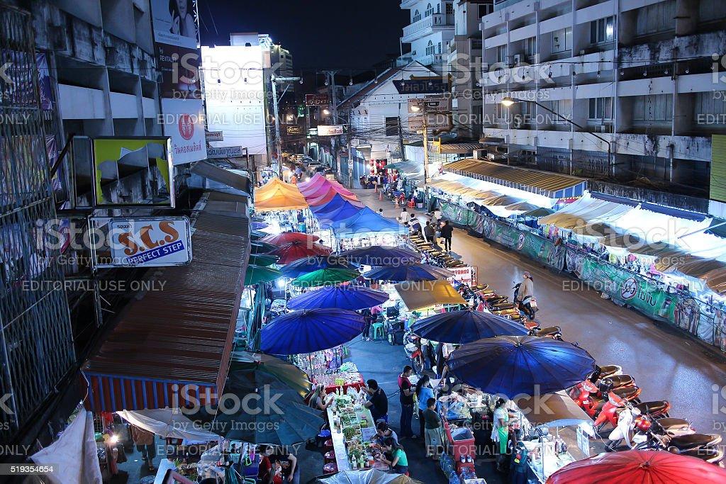 Night shot of Warorot Market stock photo