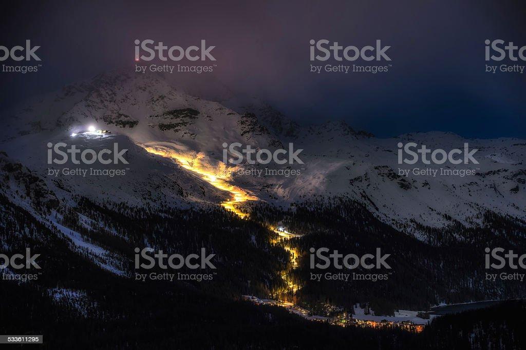 Night skiing stock photo