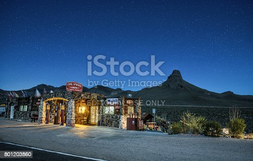 Cool Springs, Arizona: Night sky with many stars above rebuilt Cool Springs station in the Mojave desert on historic route 66 in Arizona
