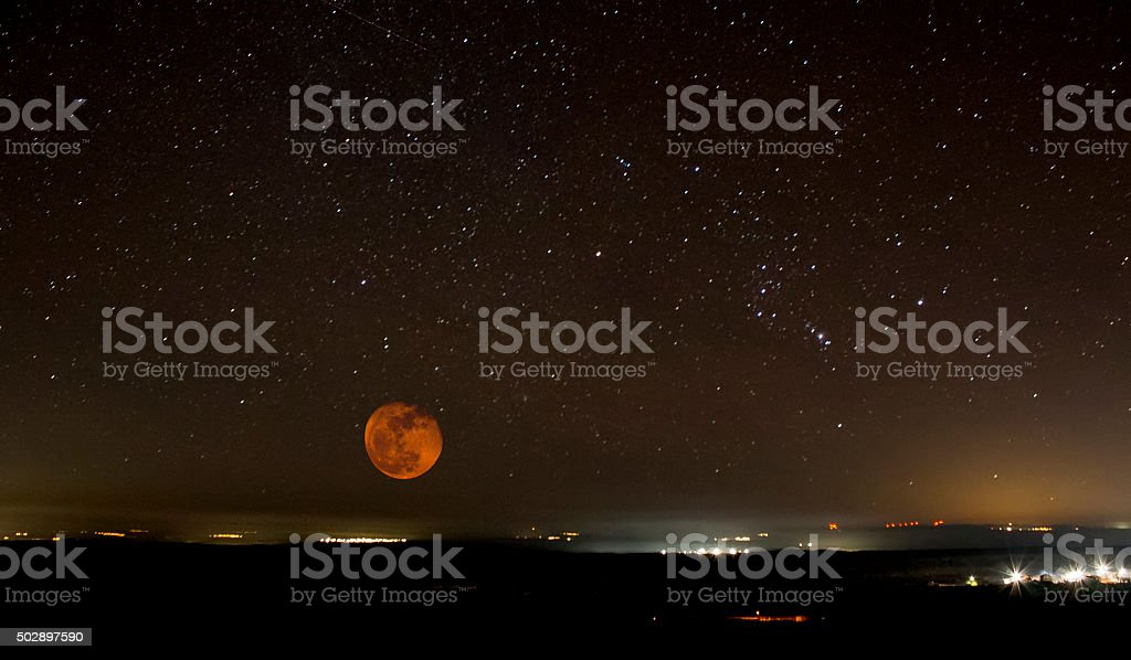 Night sky and city stock photo