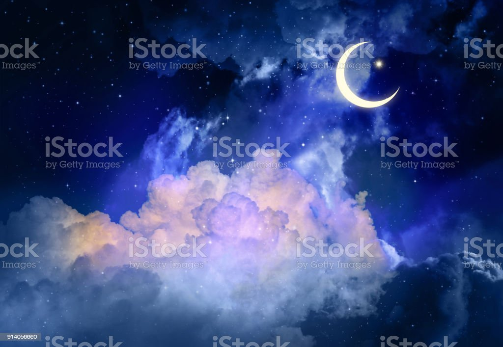 Night sky and moon, stars,Ramadan Kareem. stock photo