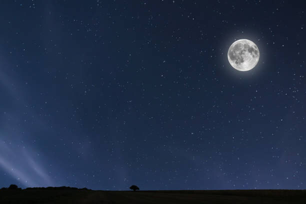 night sky background with moon and stars. full moon background. - romantic moon stock photos and pictures