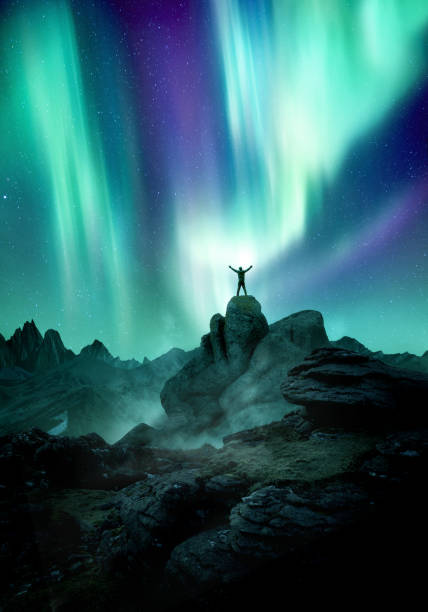 Night Sky Filled With The Aurora Northern Lights stock photo