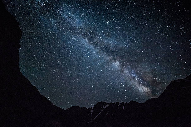 Night sky in mountains stock photo