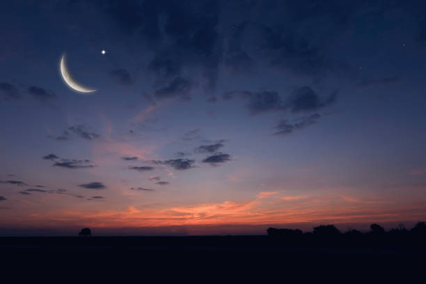 night sky landscape and moon, stars, ramadan kareem celebration - twilight stock pictures, royalty-free photos & images