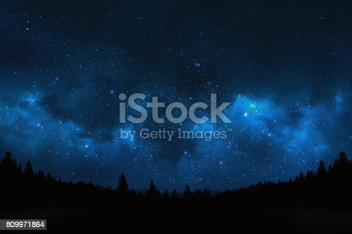 809971888 istock photo Night sky landscape 809971864
