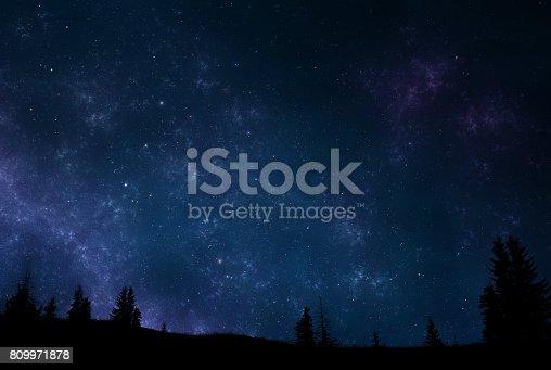 809971888 istock photo Night sky landscape 809971878