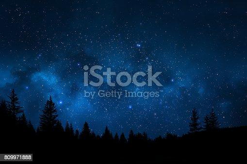 istock Night sky landscape 809971888