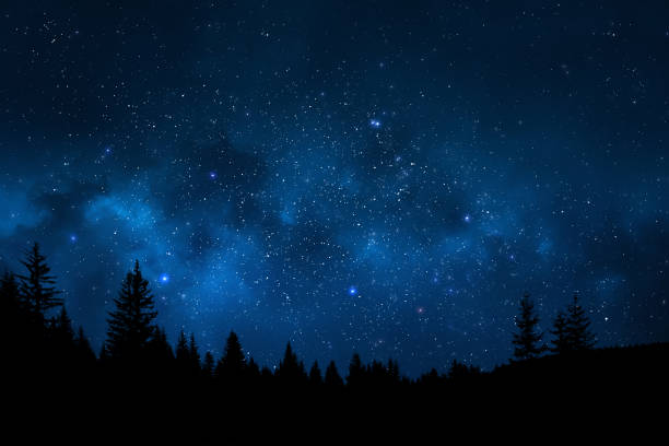 Night sky landscape stock photo