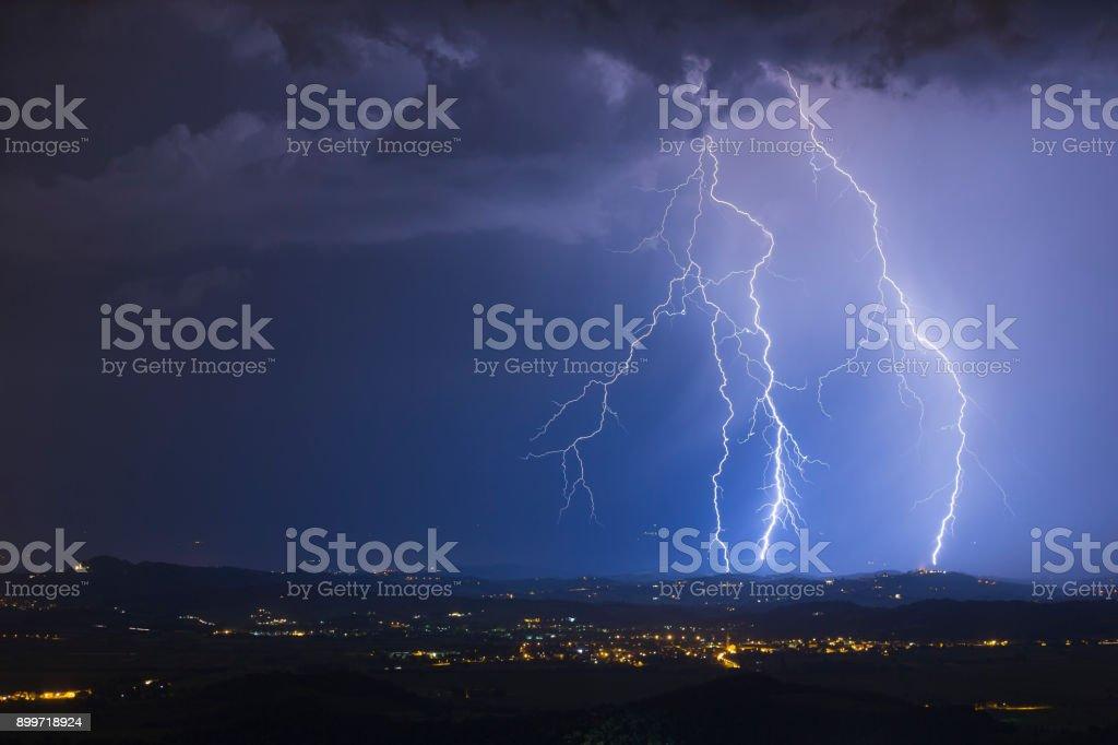 Night Sky Lightning Storm stock photo