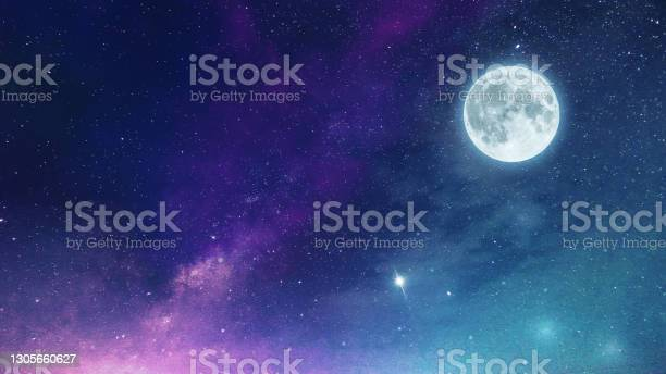 Photo of Night sky Milky way with full Moon and universe constellation s in the background.