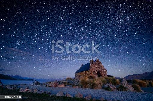 Night sky over Good Shepherd's Chapel, Lake Tekapo, New Zealand