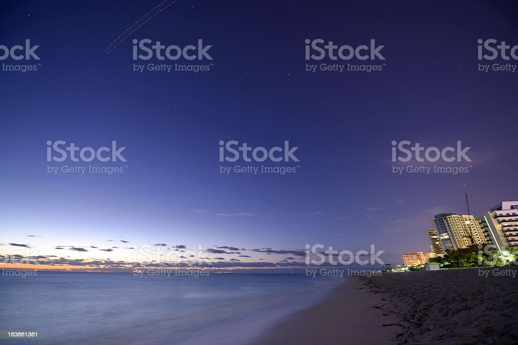 Night sky over Miami Beach royalty-free stock photo