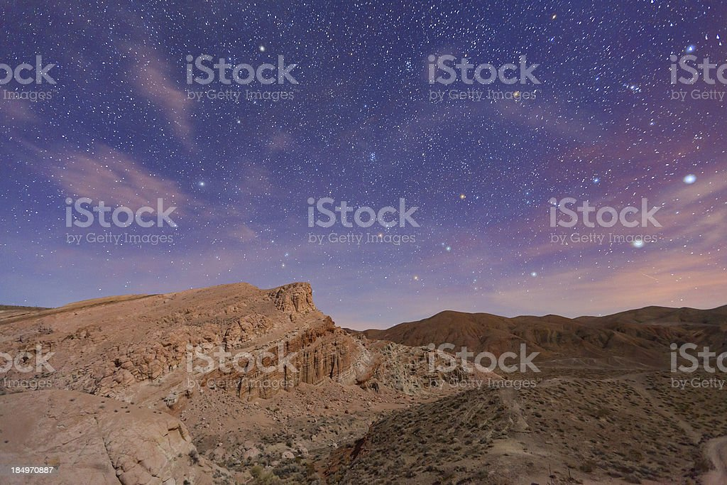 Night Sky Over Red Rock Canyon stock photo