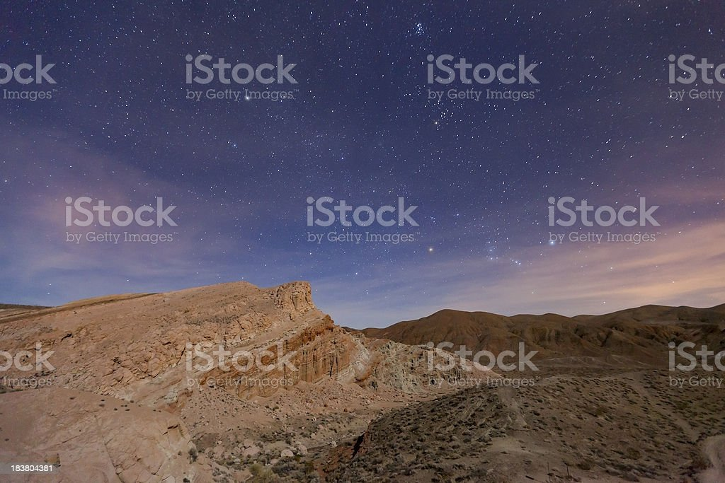 Night Sky Over Red Rock Canyon State Park stock photo