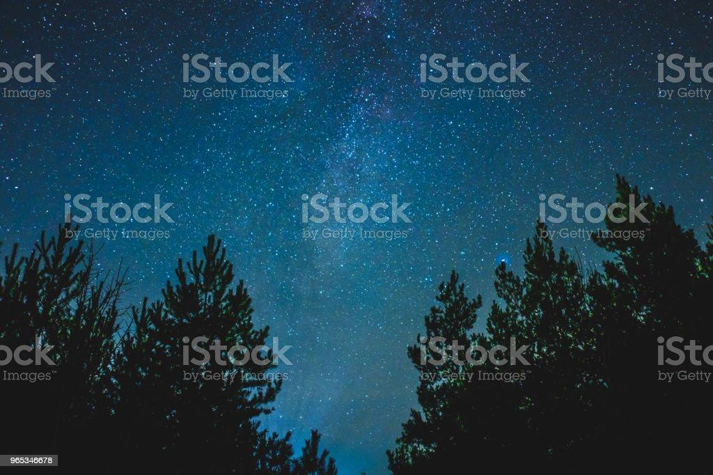 농촌 풍경을 밤 하늘. - 로열티 프리 0명 스톡 사진