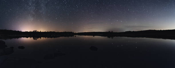 Night Sky Panoramic Panoramic view of clear night skies over a tidal still water.  Long exposure. big dipper constellation stock pictures, royalty-free photos & images