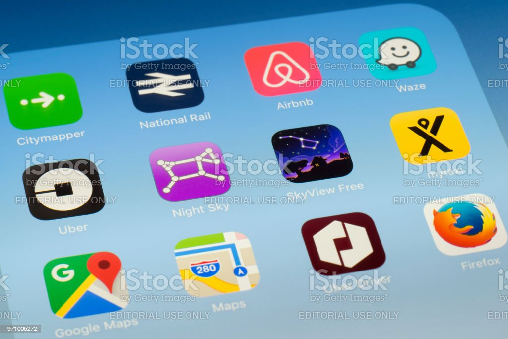 Night Sky, SkyView and other outdoors Apps on iPad screen stock photo