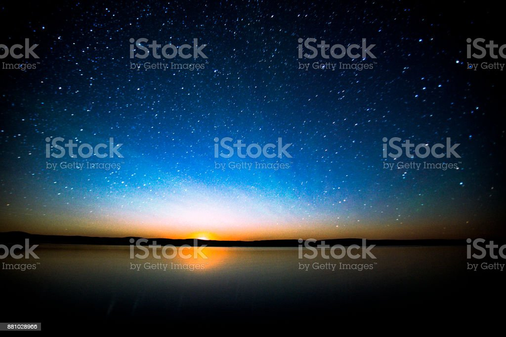 Night Sky South Saskatchewan Canada. stock photo