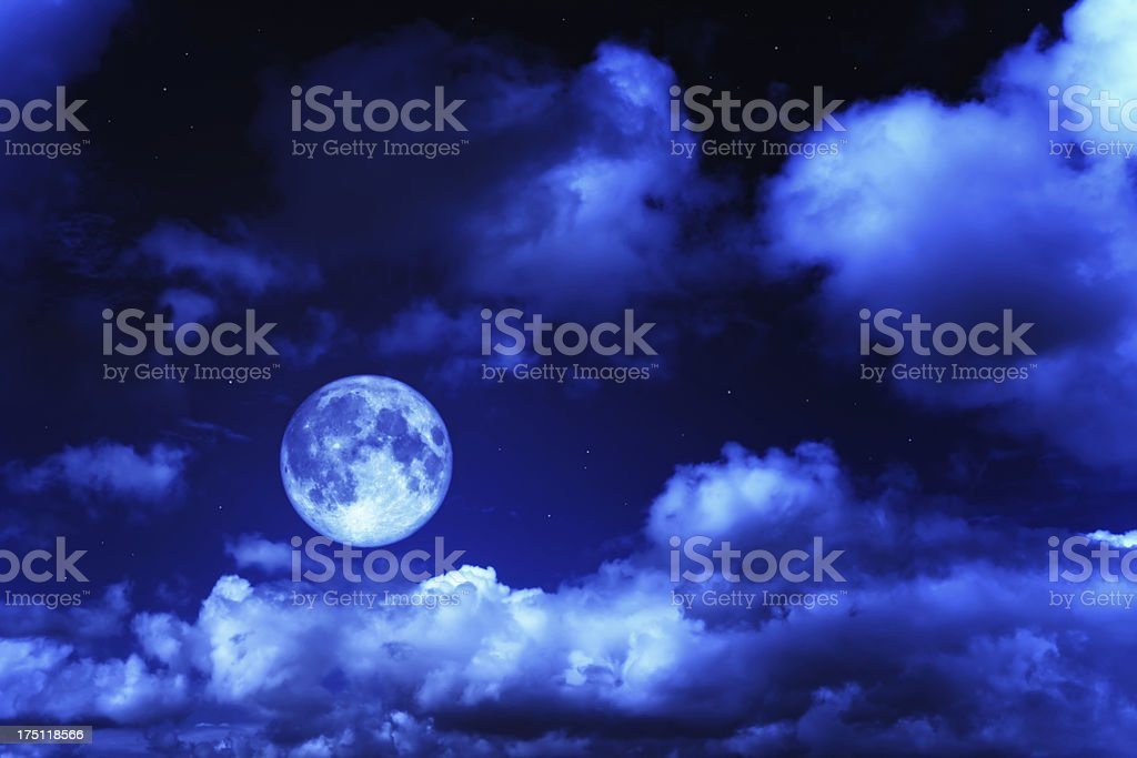 Night sky with a full moon and shining stars stock photo