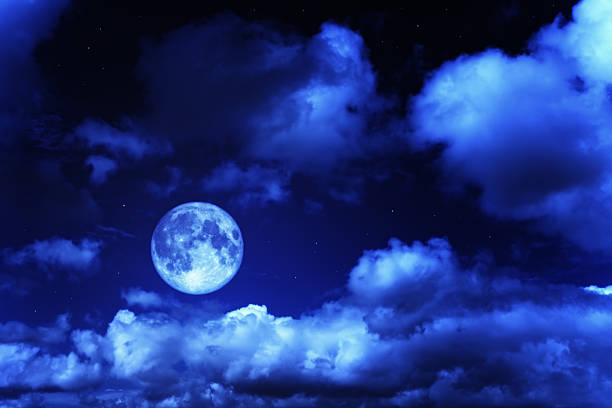 night sky with a full moon and shining stars - romantic moon stock photos and pictures