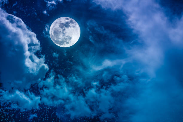 night sky with bright full moon and cloudy, serenity nature background. - moon stock pictures, royalty-free photos & images