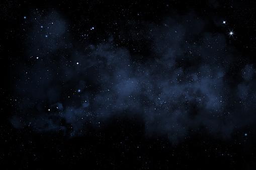 starry night sky illustration with stars and blue nebula