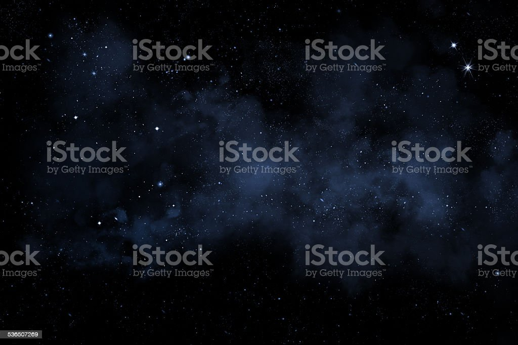 night sky with bright stars and blue nebula stock photo
