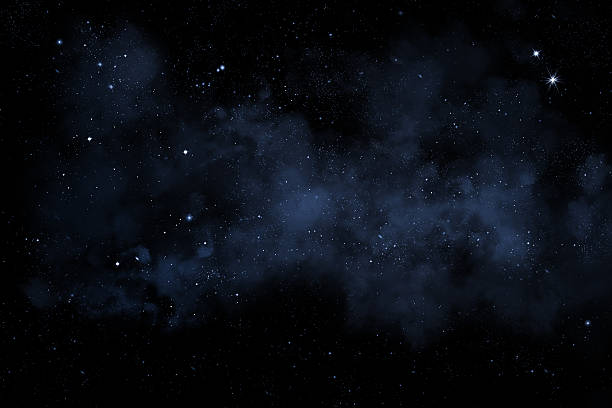 night sky with bright stars and blue nebula - star space stock pictures, royalty-free photos & images