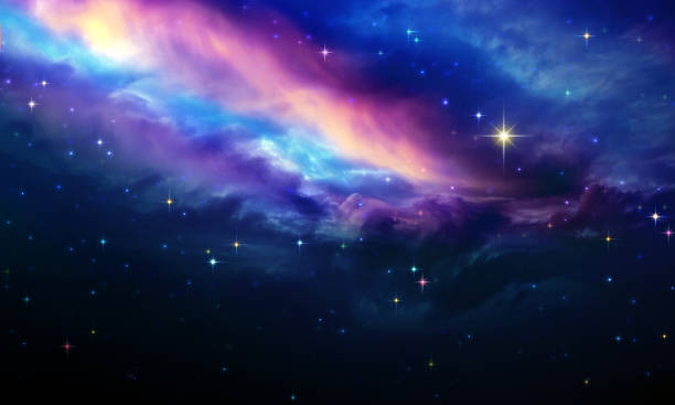 Night sky with colorful stars. Abstract sky background. Milky way abstract background with stars. Abstract sky background. north star stock pictures, royalty-free photos & images