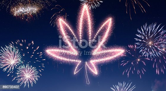 istock Night sky with fireworks shaped as a weed leaf.(series) 890733402