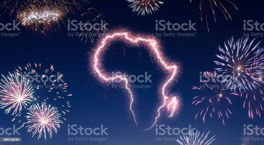 Night sky with fireworks shaped as Africa.(series) stock photo
