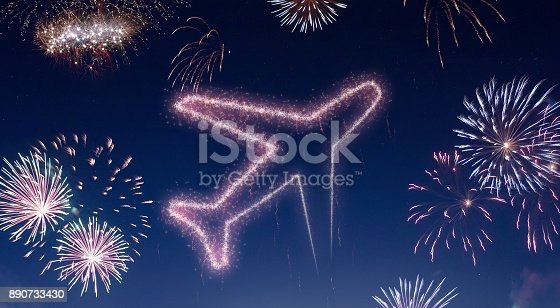 istock Night sky with fireworks shaped as an airplane.(series) 890733430