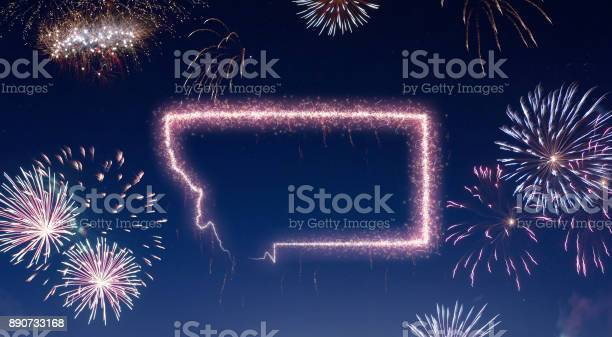 Night sky with fireworks shaped as Montana.(series)