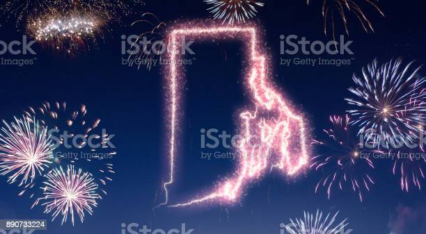 Night sky with fireworks shaped as Rhode Island.(series)