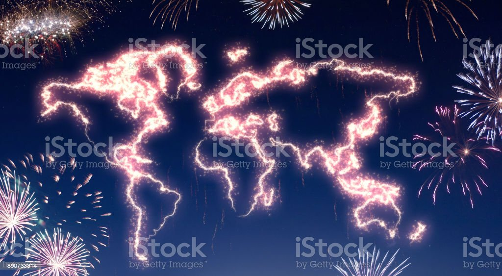 Night sky with fireworks shaped as the world.(series) stock photo