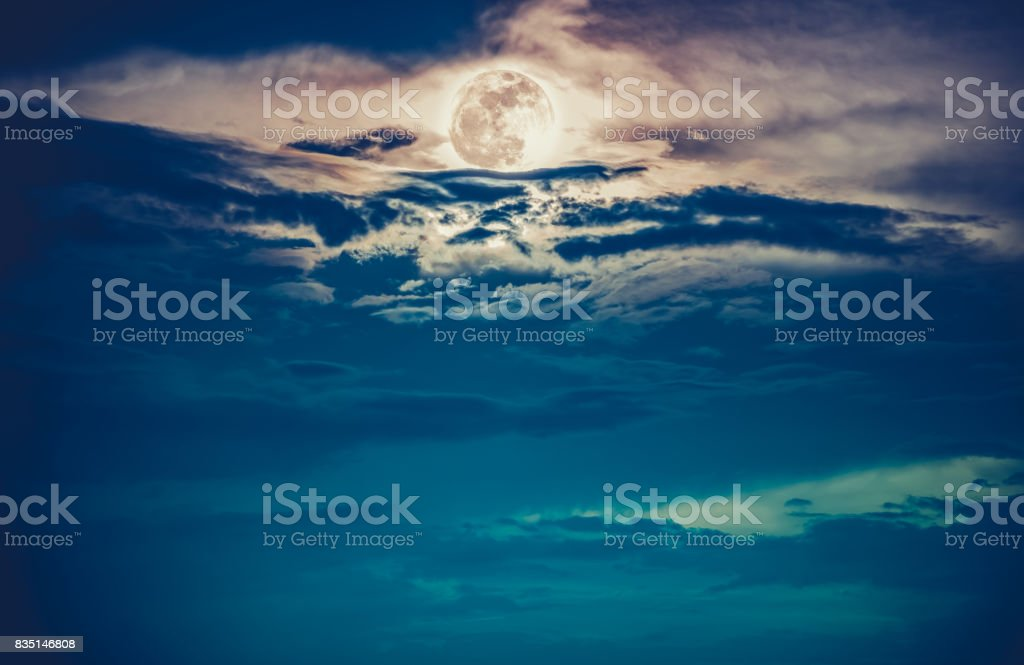 Night sky with full moon, serenity nature background. stock photo