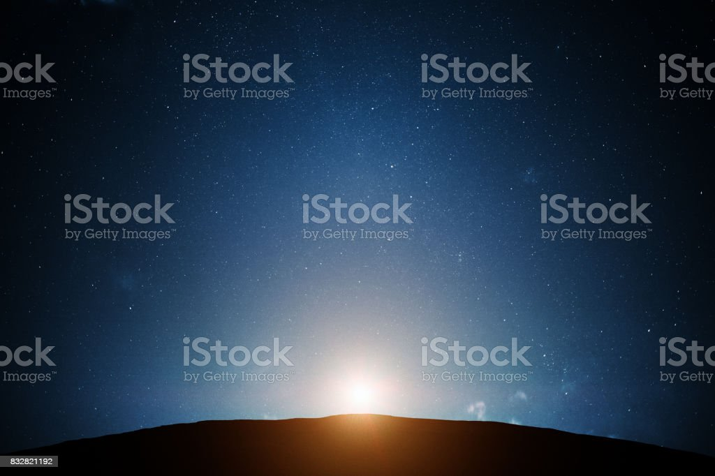 Night sky with light stock photo