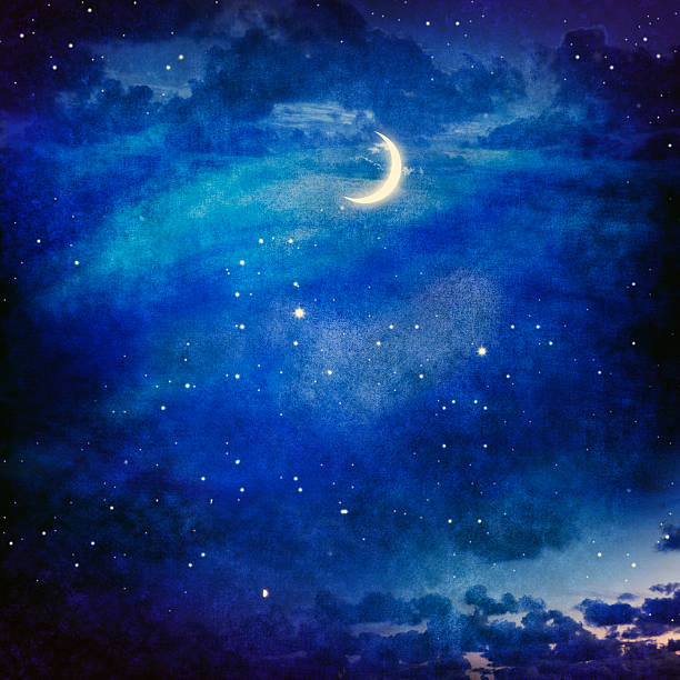 Night Sky With Moon And Stars stock photo
