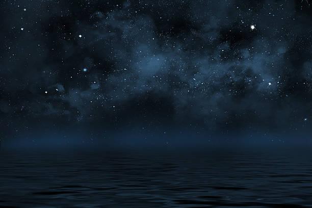 night sky with stars and blue nebula over water - night sky stars bildbanksfoton och bilder